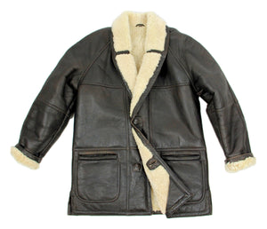 Brown Shawl Collar Shearling Leather Coat, SIZE USA 46 - second_first
