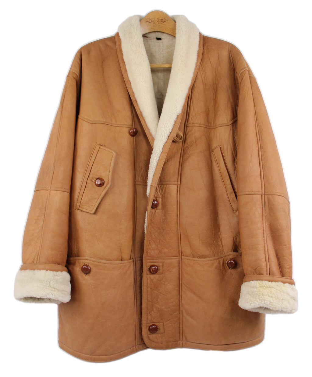 Camel Brown Supple Leather Shawl Collar Chunky Shearling Jacket, XXL