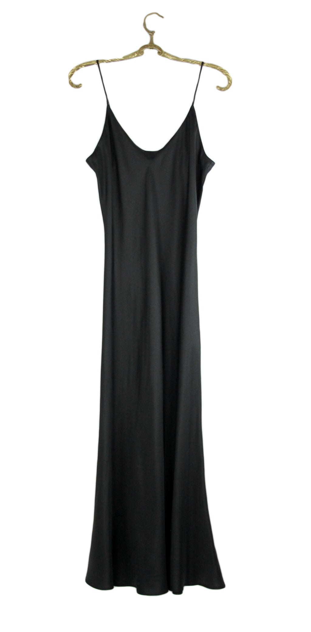 Sportmax by Max Mara Matte Black Satin Slip Dress SIZE S