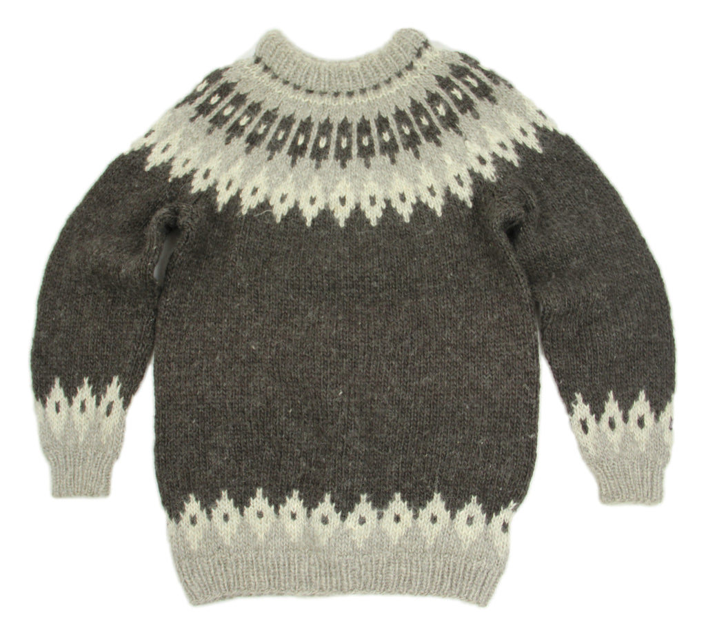 Icelandic Wool Hand Knitted Lopapeysa Sweater, Unisex S-M