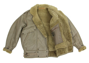 Taupe Double Breasted Shearling Jacket, SIZE L