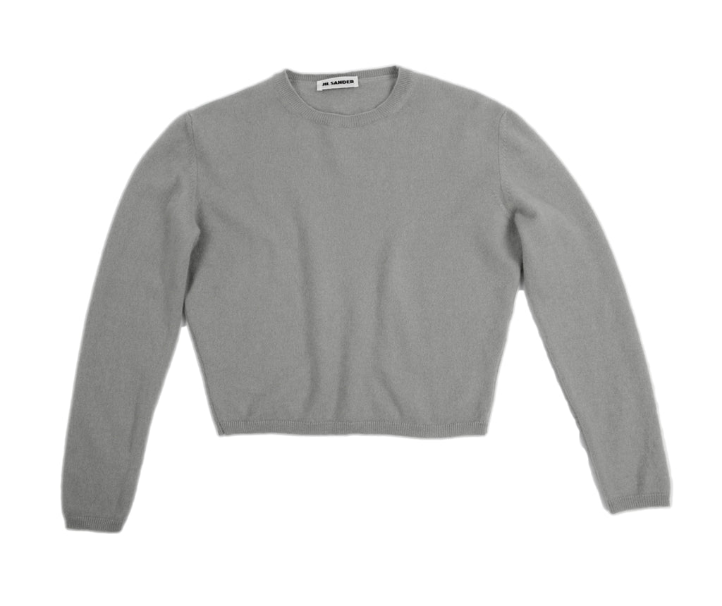 Jil Sander Gray Cashmere Crop Round Neck Sweater, XS