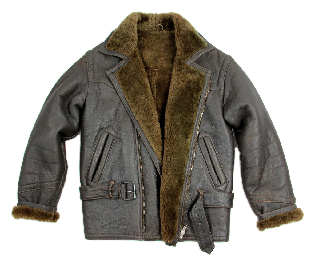 Aviator Style Men's Brown Sheepskin Shearling Jacket, SIZE L - second_first