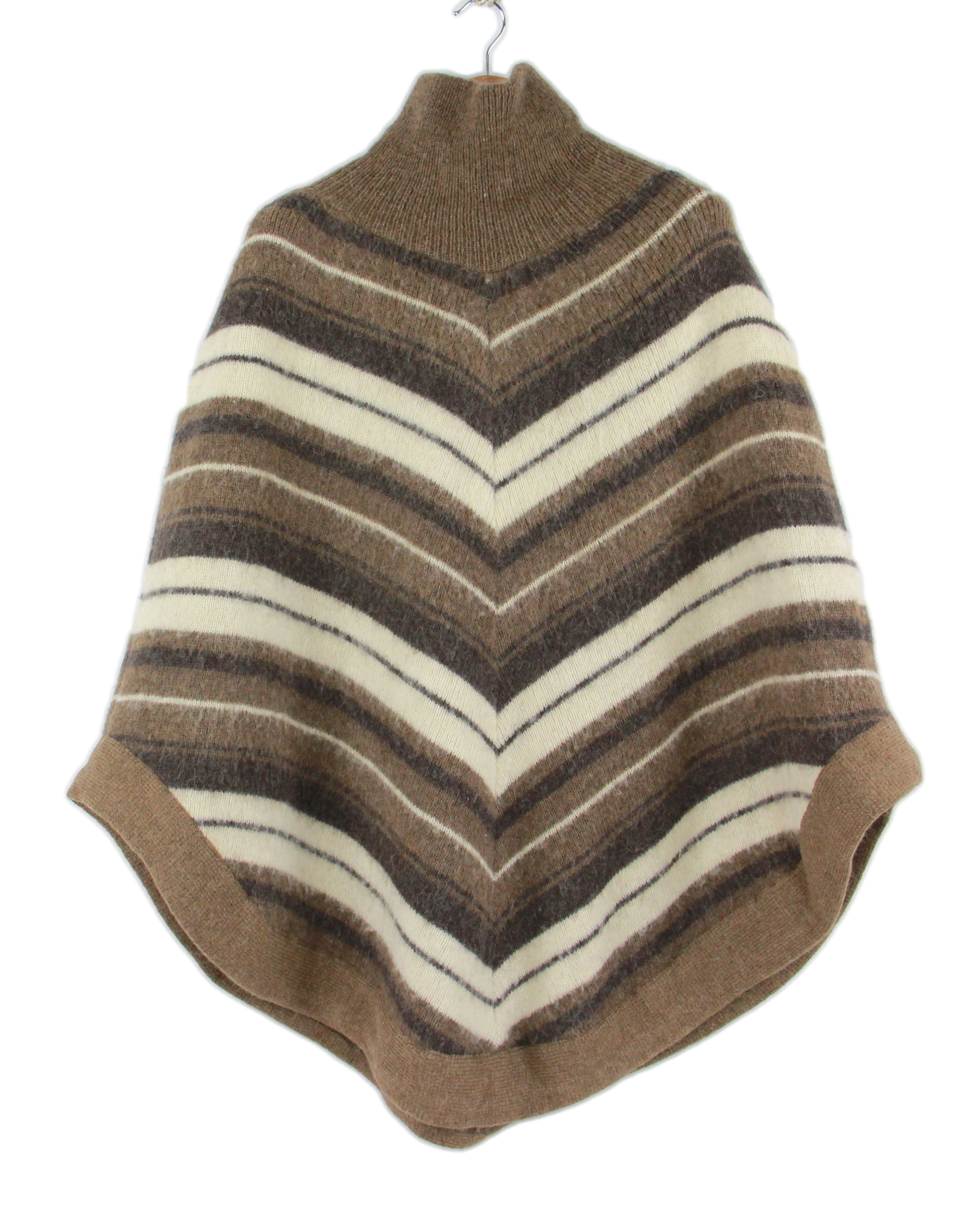 Icelandic Wool Brown Turtle Neck Poncho, SIZE M