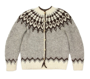 Traditional Icelandic Wool Hand Knitted Lopapeysa Cardigan, Women's S
