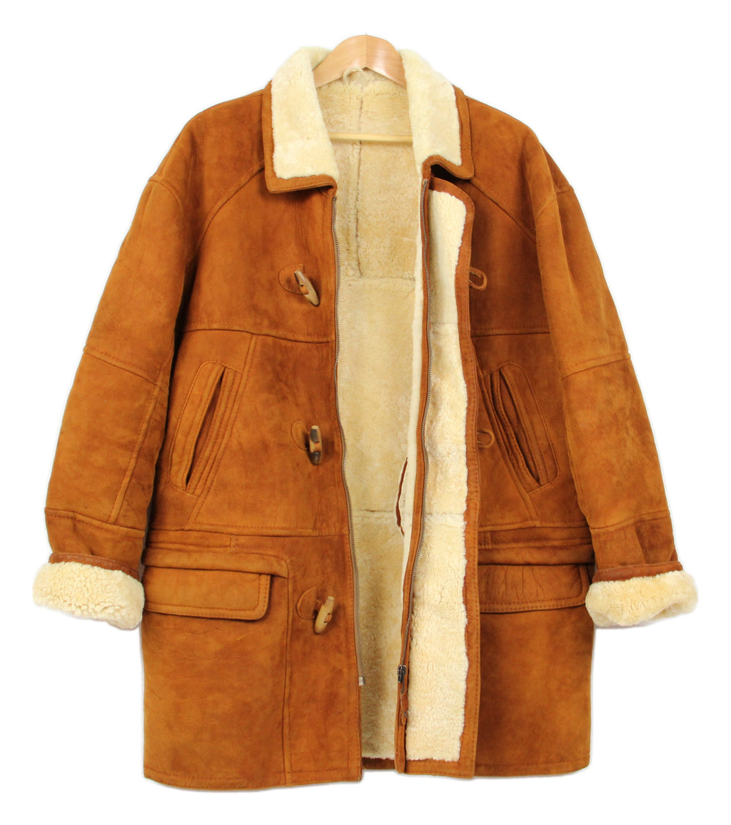 Rust Brown Duffle Style Soft Lambskin Shearling Coat, Men's XL