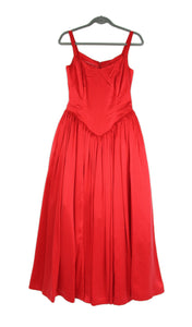 Vintage Red Silk Corset Bodice Evening Gown Dress, Size S