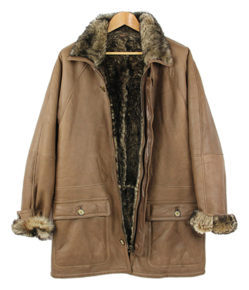 Men's Super Supple Lambskin Brown Shearling Coat, SIZE XL