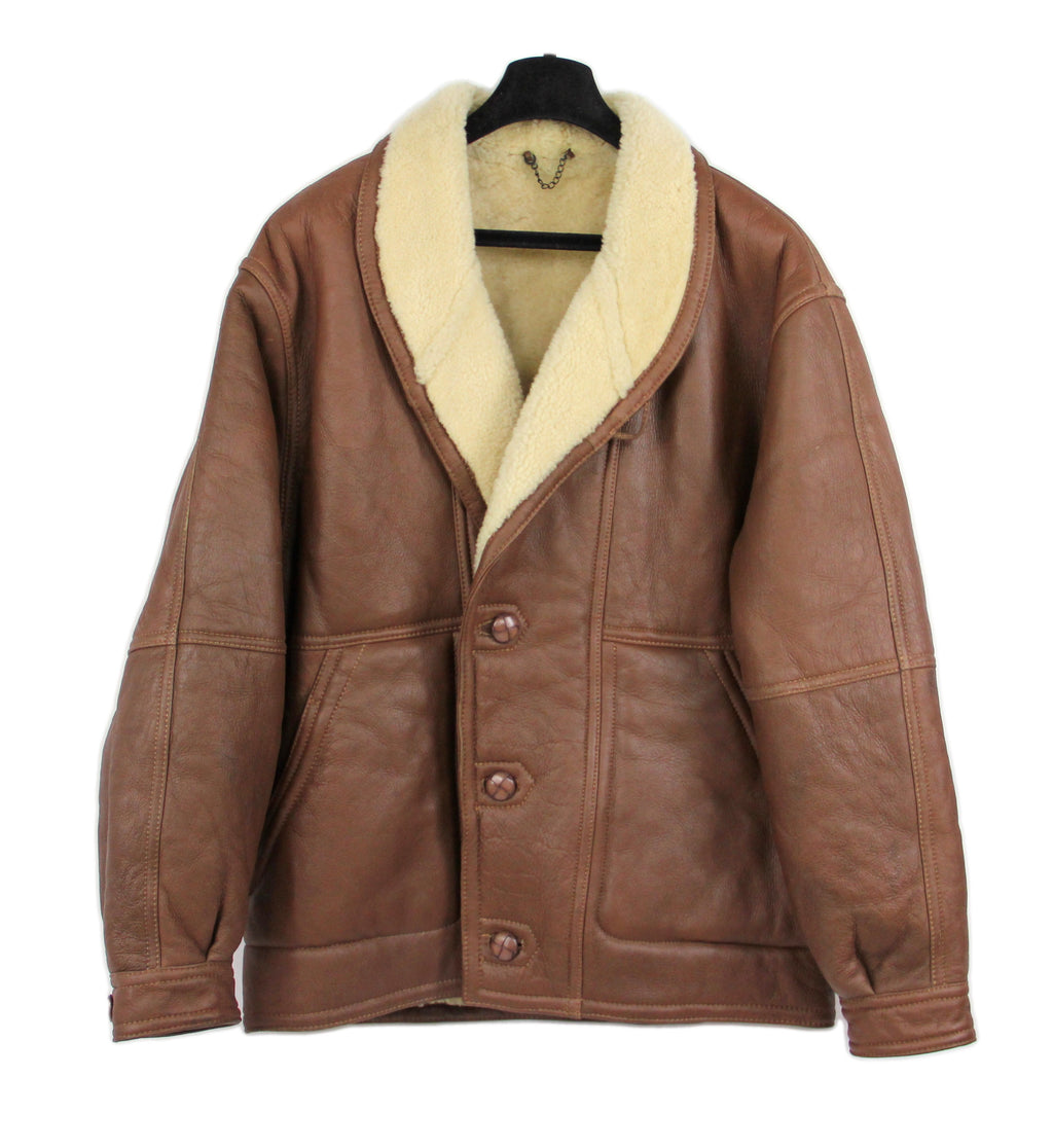 Brown Shawl Collar Short Shearling Jacket, SIZE US 42