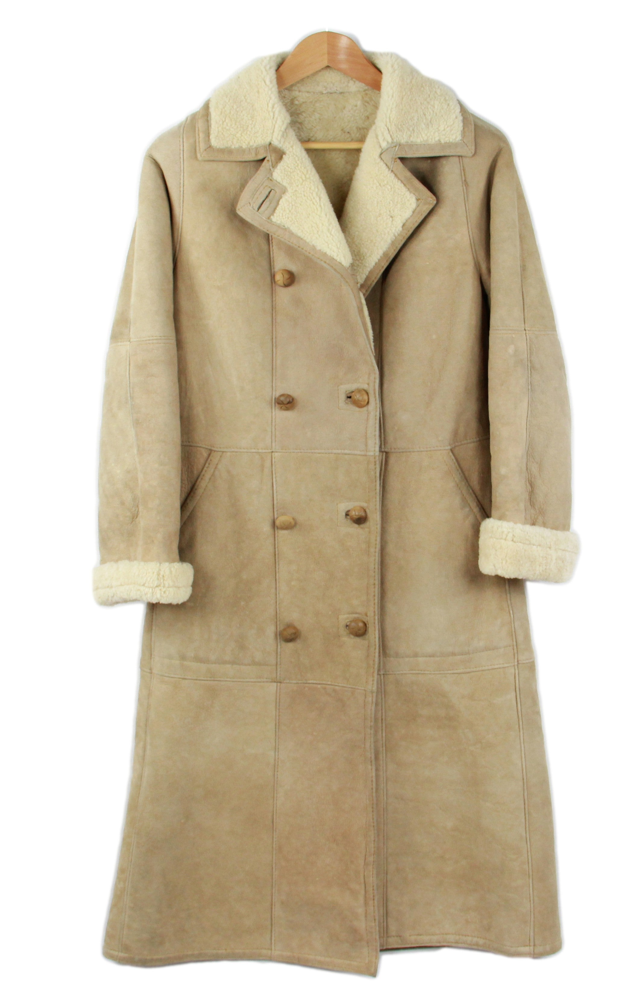 Women's Beige Long Shearling Lambskin Coat, SIZE M