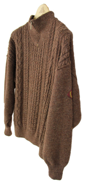 Henri LLoyd Brown Alpaca Wool Blend Zip Neck Sweater, L