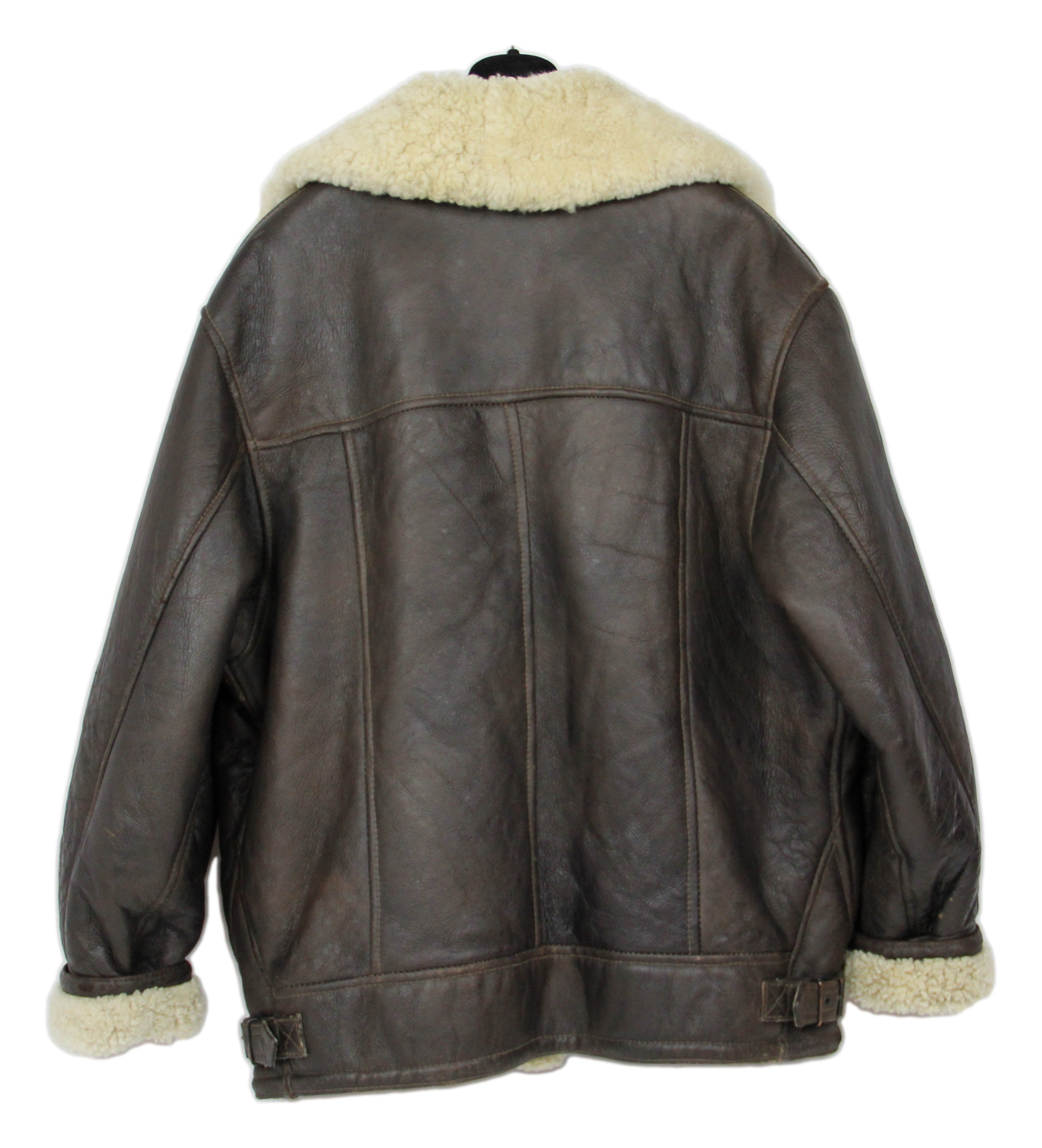 Hollies Brown Lambsfur Aviator Type B Style Shearling Jacket, SIZE L