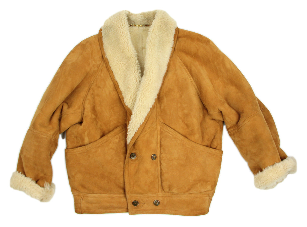 Vintage Unisex Camel Brown Soft Sheepskin Shearling Jacket - second_first