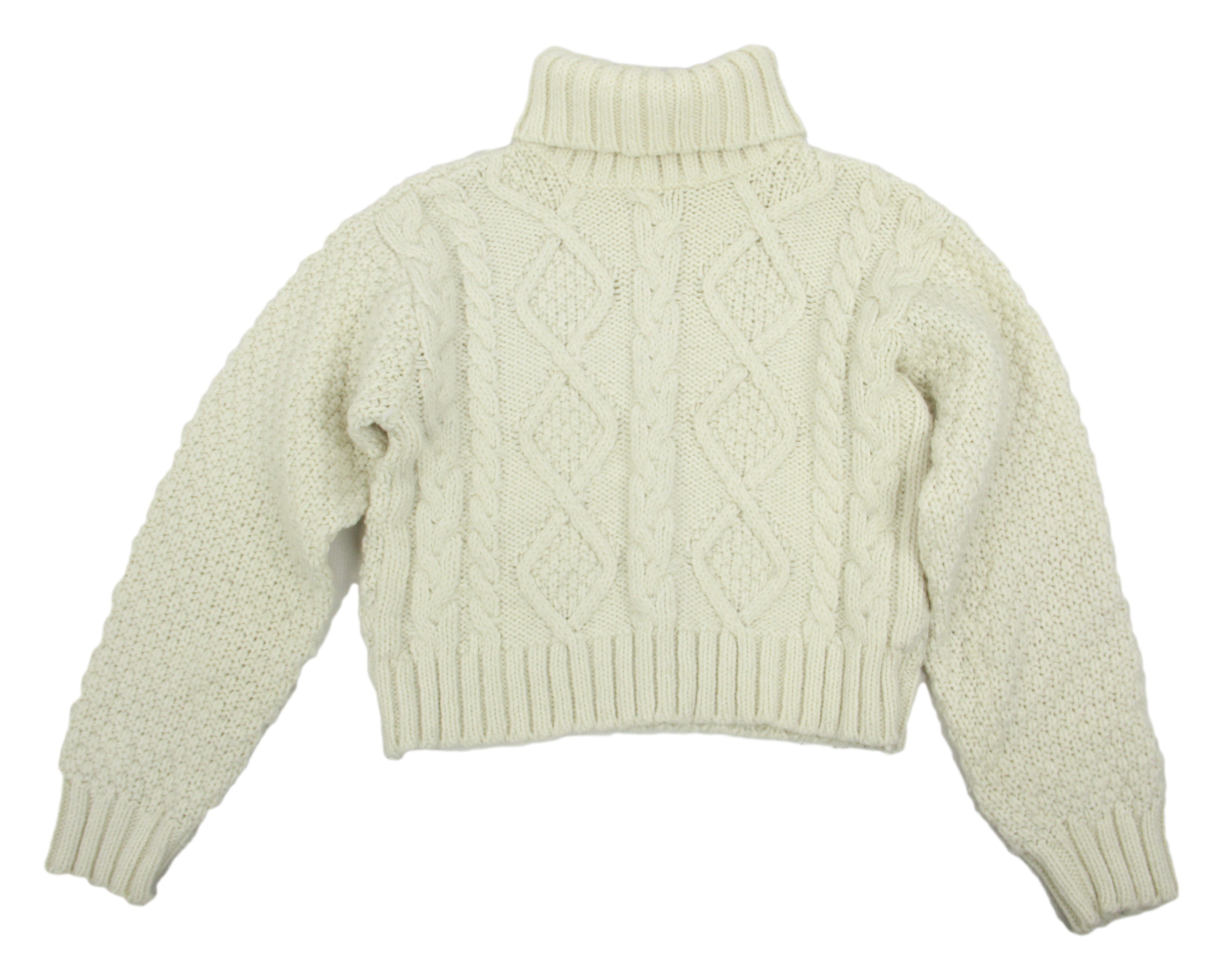 Cable Knit Wool Blend Aran Style Roll Neck Woman's Sweater, S