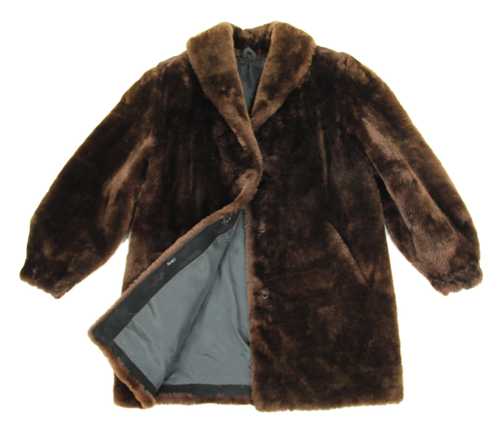 Brown Plush Shearling Mouton Teddy Coat, Size XL - second_first