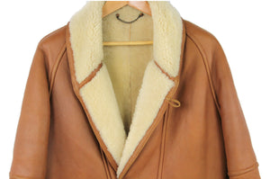 Men's Brown Chunky Shearling Coat with Shawl Collar, SIZE M