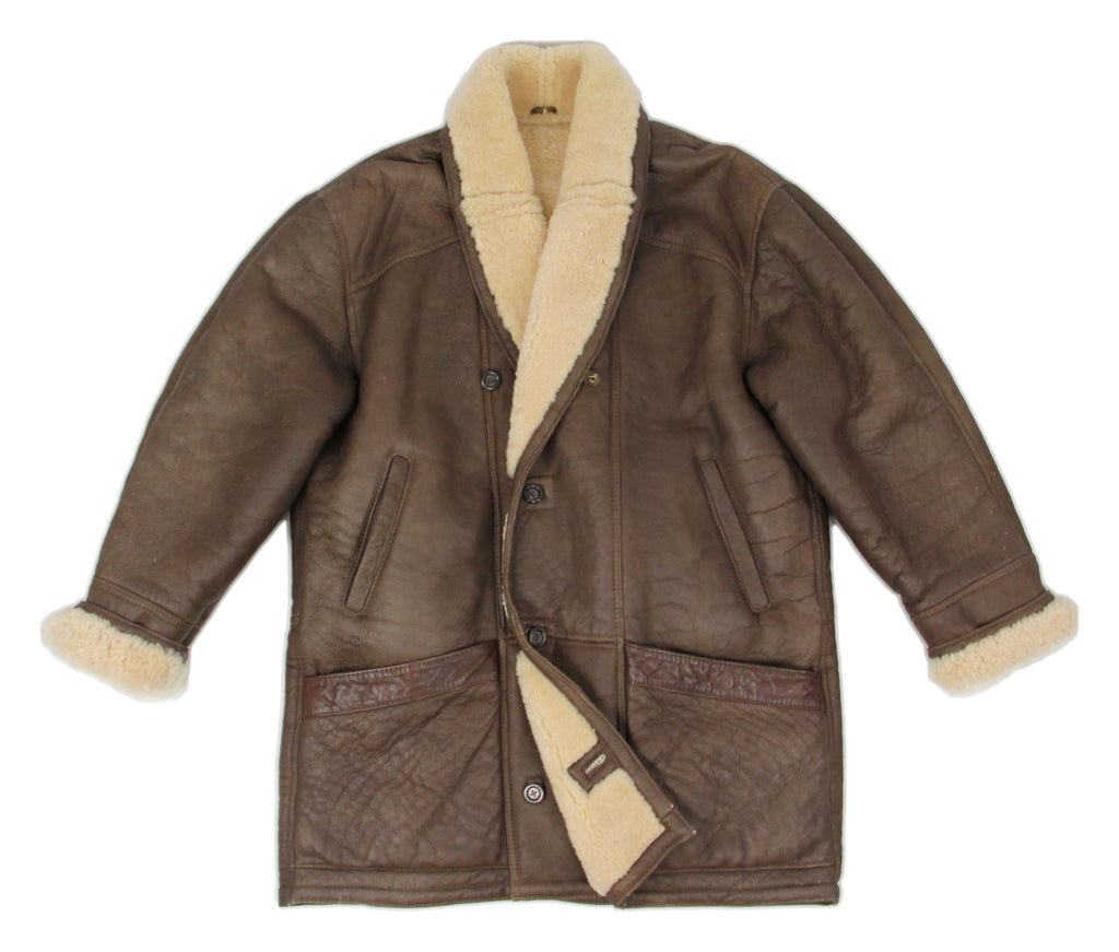 Brown Chunky Shearling Leather Coat, SIZE XL