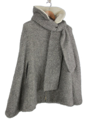 Icelandic Arctic Sheep Gray Wool Poncho Cloak, SIZE M