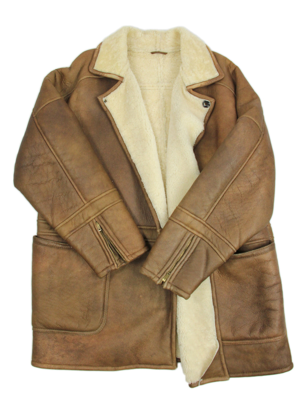 Double Breasted Brown Sheepskin Leather Shearling Coat, SIZE XL