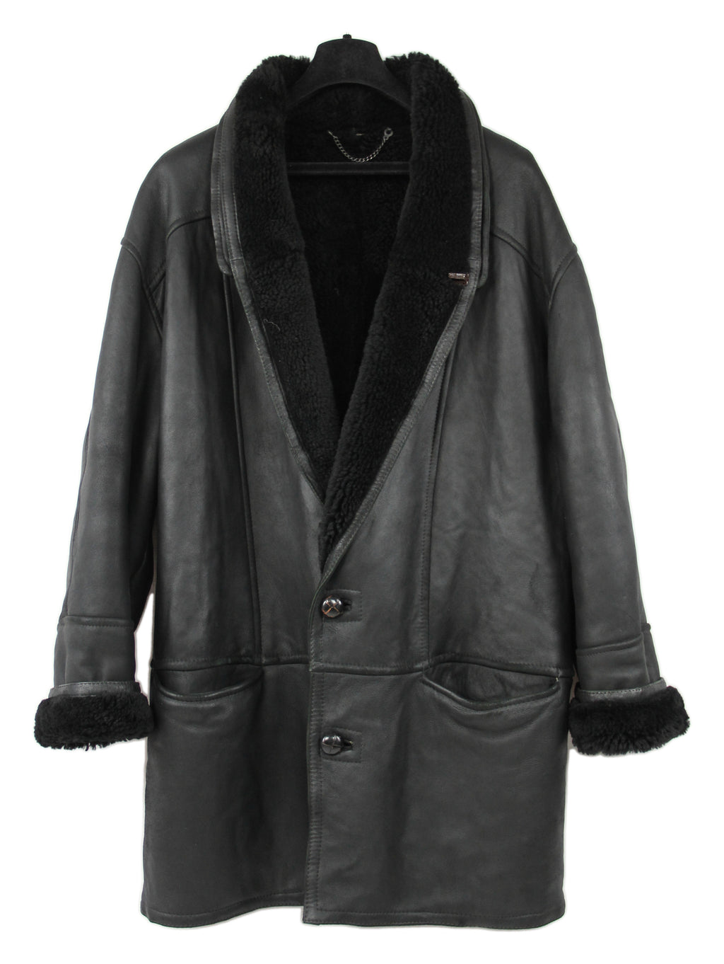 Black Leather Shawl Collar Lambskin Shearling Coat, SIZE XXL