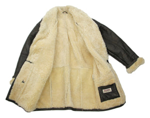 Jofama Dark Brown Shawl Collar Chunky Shearling Leather Coat, USA 40