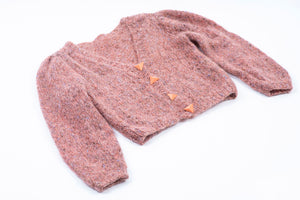 Handmade Coral Pink Mohair Wool Button Up Cardigan, S