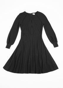 Pringle Of Scotland Fit & Flare Black Wool Midi Dress, US 10, UK 12, EU 40