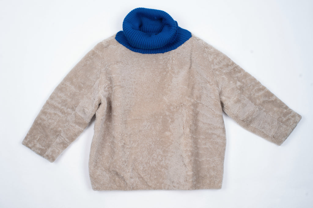 Beige Boxy Cocoon Shape Teddy Sheepskin Jumper