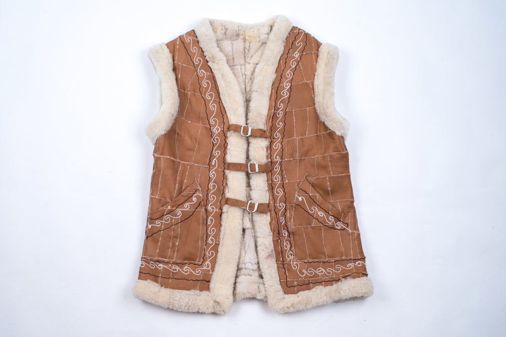 Brown Woman's Shearling Sheepskin Patchwork Vest