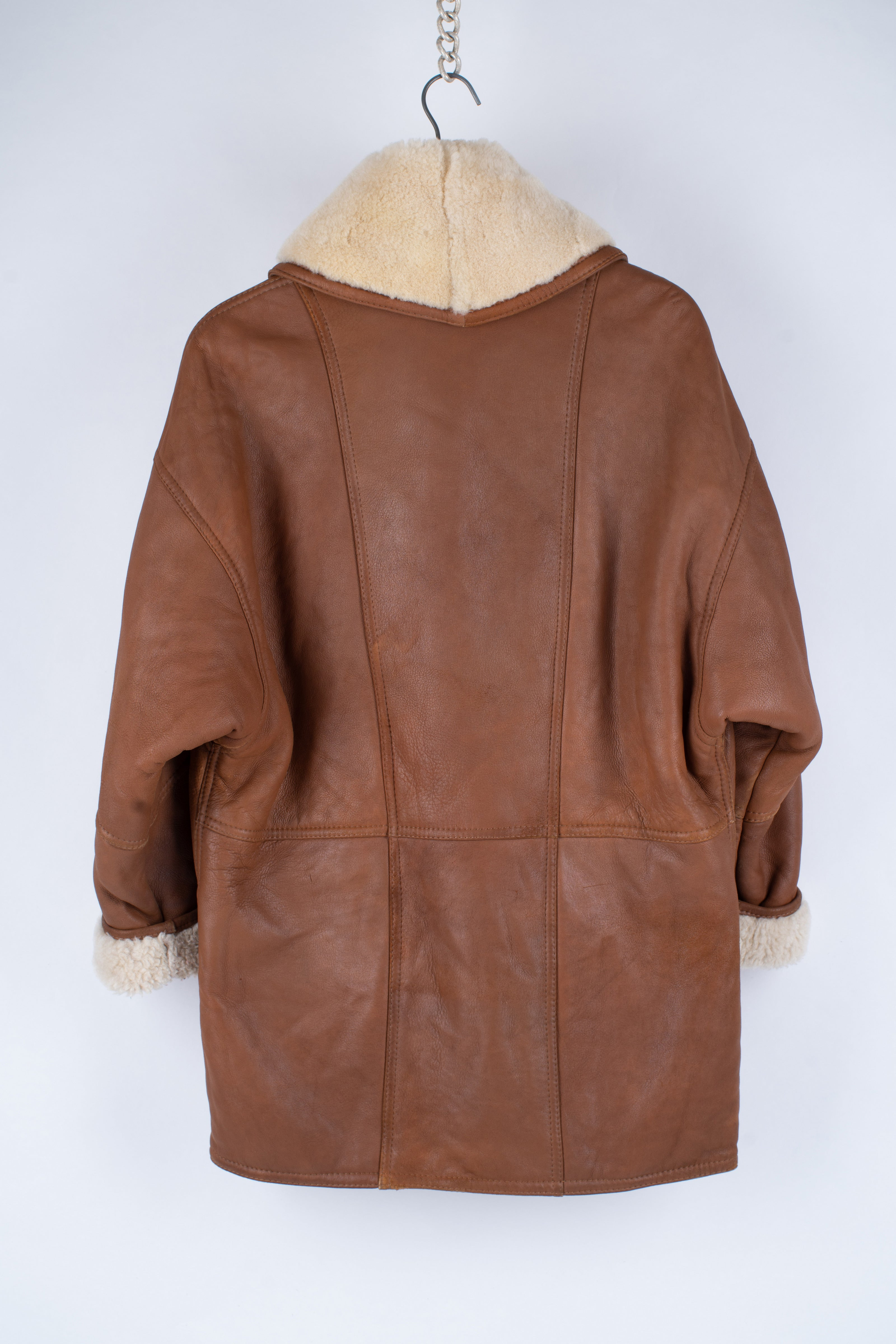 Women's Gingerbread Brown Soft Shearling Cocoon Coat, S
