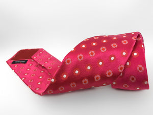 Kiton Napoli Pink Woven Silk Floral Embroidered Tie - secondfirst