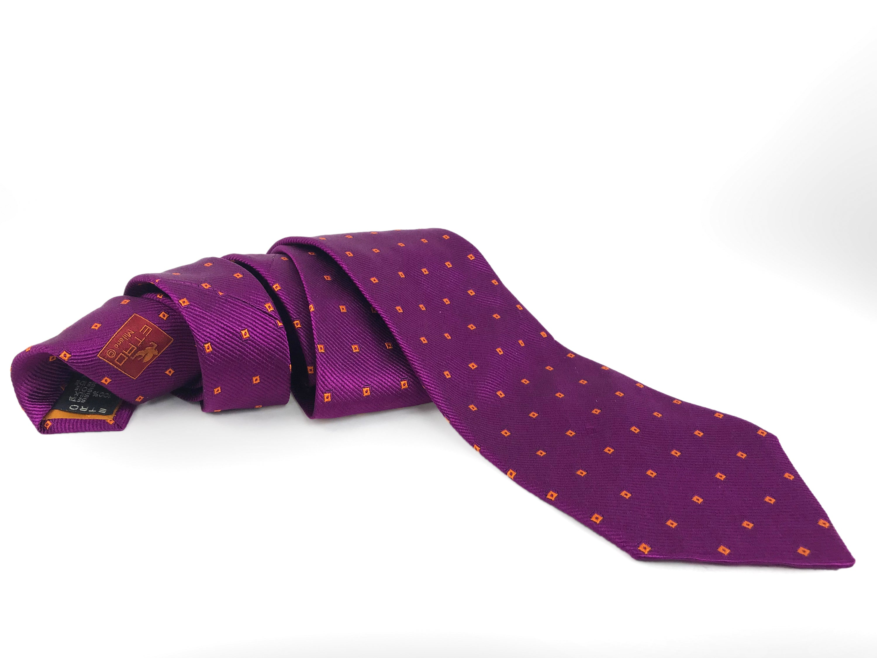 Etro Milano Diamond Embroidered Woven Silk Purple Tie - secondfirst