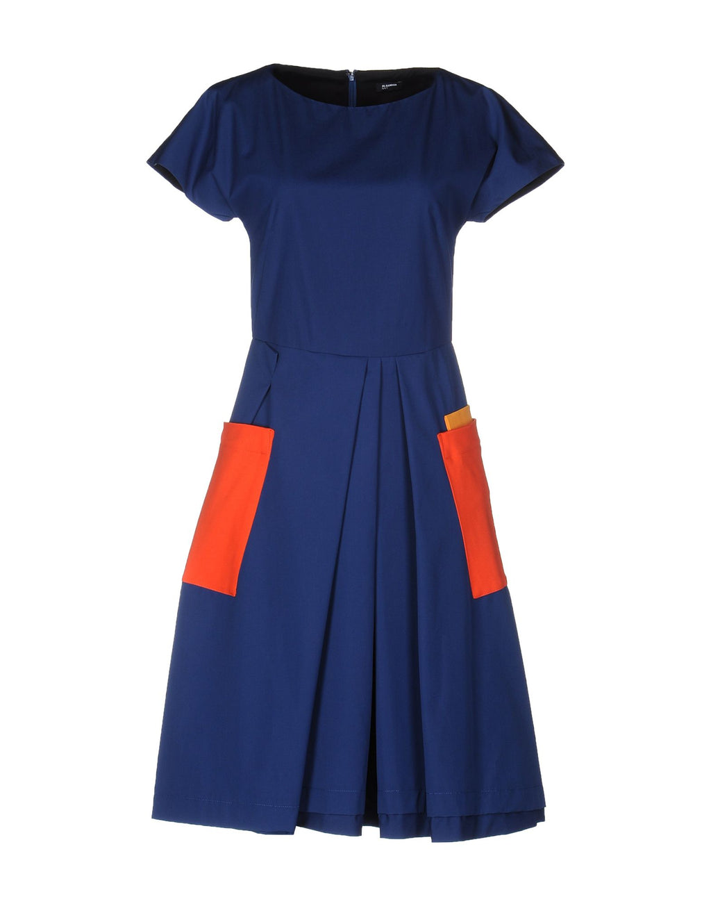 Jil Sander Cotton Blue Dress with Exposed Pockets, Size XS