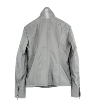 BELSTAFF women's Gold Label Silver Gray Waterproof Nylon Jacket, L