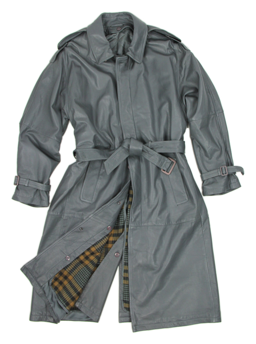 Supple Leather Vintage Gray Trench Coat With Removable Lining, XL, USA 42R - second_first