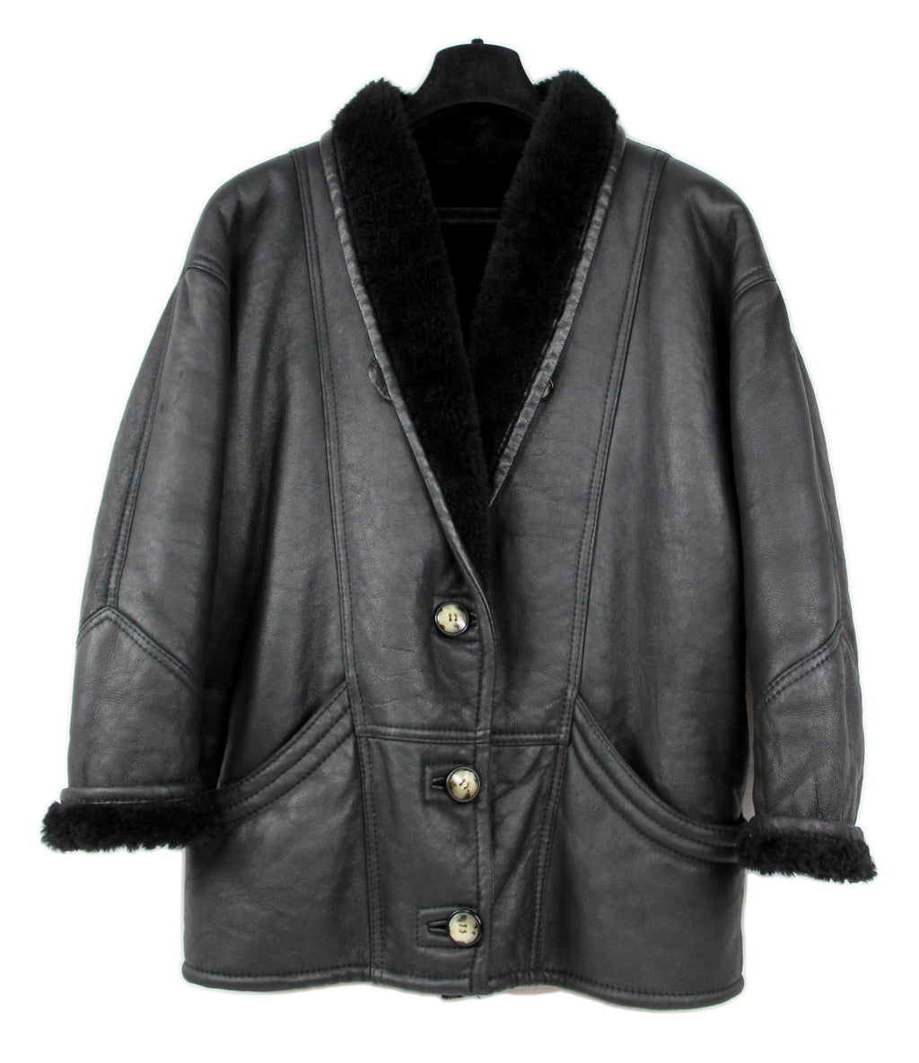 Black Soft Leather Shawl Collar Women's Shearling Jacket, M