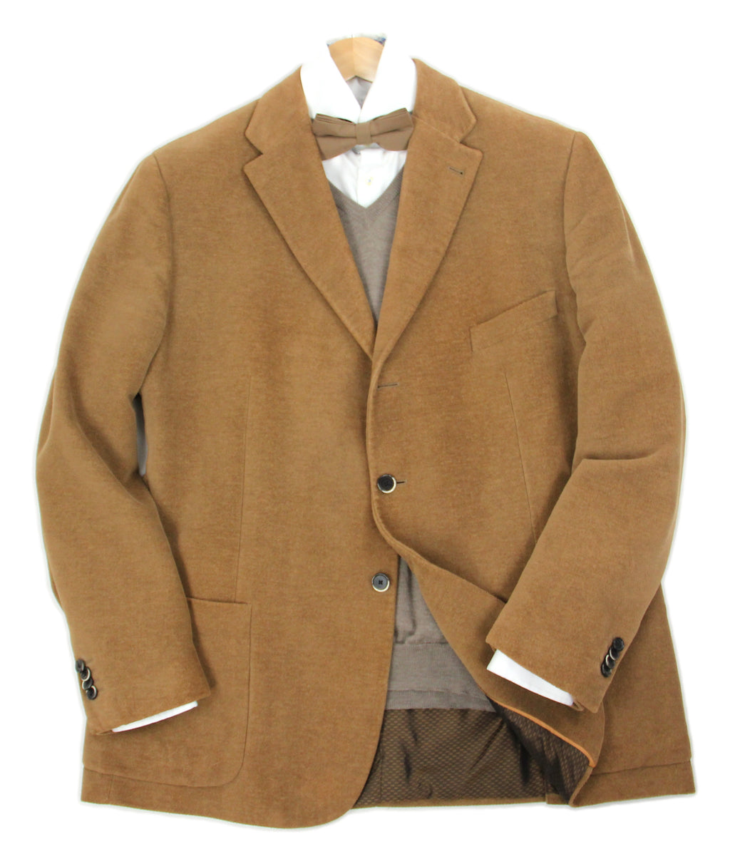 Corneliani Cotton & Cashmere Corduroy Camel Brown Sport Coat, US 46R, EU 56R