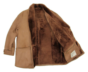 Men's Brown Shawl Collar Supple Shearling Coat, SIZE 40