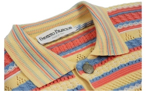 Vintage Umberto Bilancioni Colorful Cotton Polo Jumper, XL