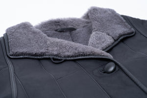 Woman's Charcoal Gray Soft & Lightweight Lambskin Shearling Coat, M