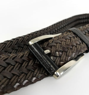"Prada Woven Brown Leather Belt, Size 36""/90 cm - secondfirst"