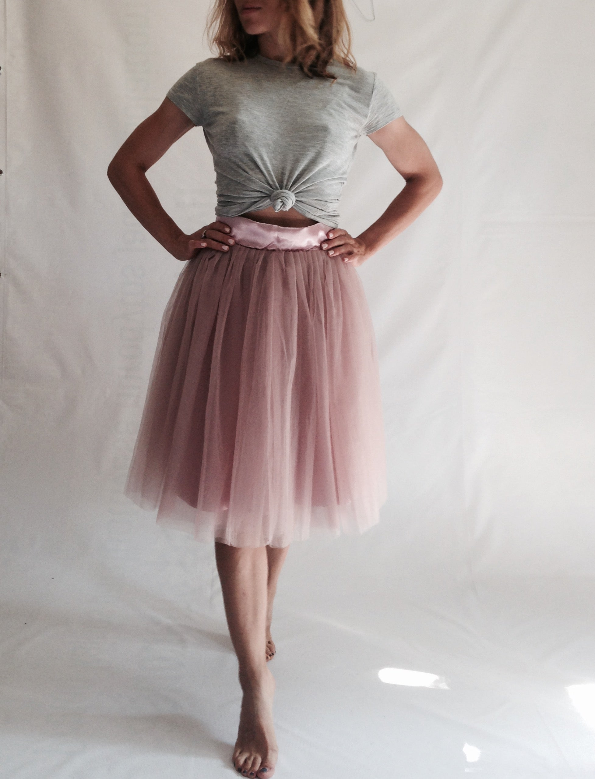Dusty Pink 6 Layers Tulle Tutu Midi Skirt, SIZE S - secondfirst
