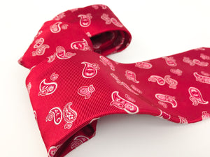 Kiton Napoli Red Woven Silk Paisley Embroidered Tie - secondfirst