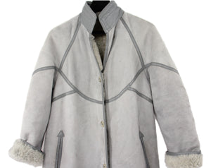 Aleksander Long Shearling Coat in Light Gray Suede, SIZE S