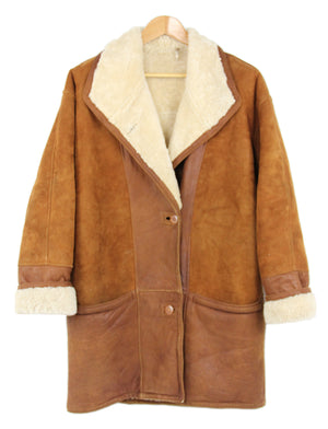 Unisex Lambskin Leather and Suede Mix Shearling Coat