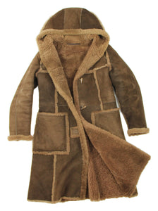 Friitala Women's Brown Hooded Shearling Coat SIZE M