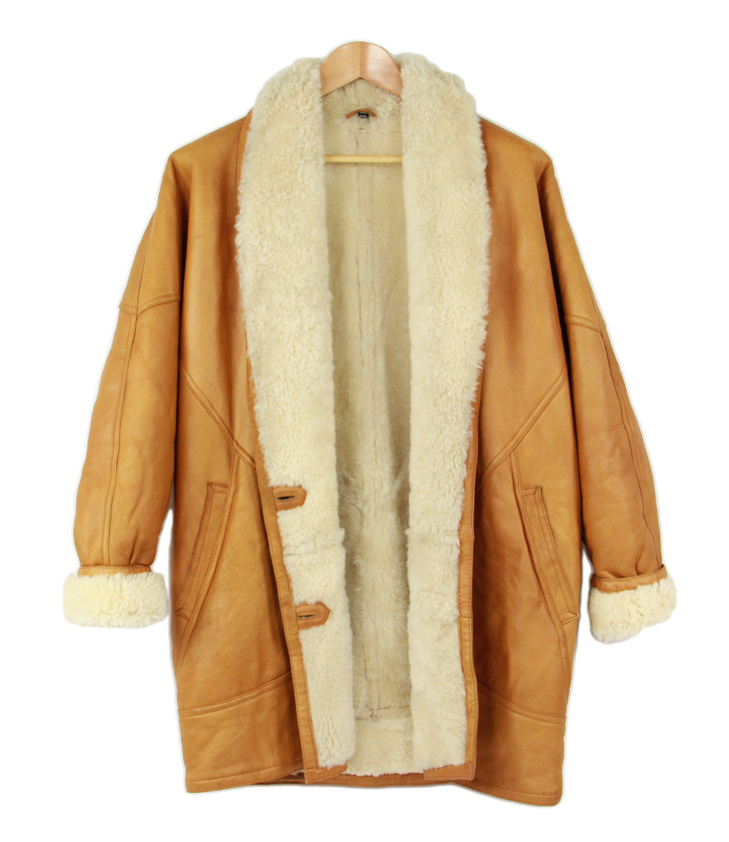 Women's Camel Brown Super Soft Shearling Cocoon Coat, M