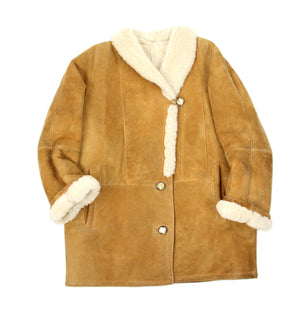 Camel Brown Woman's Chunky Shearling Supple Suede Coat, SIZE M