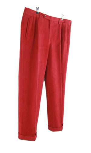 Rota Pantaloni Red Double Pleated Cuffed Cotton Twill Pants, SIZE EU 50, US 34 R