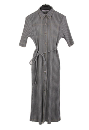 Adolfo Dominguez Pleated Gray Midi Shirt Dress, Size M